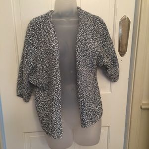 Ann Taylor Blue and White Drape Jacket